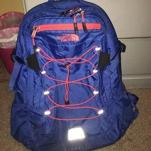 The North Face pink & blue borealis backpack